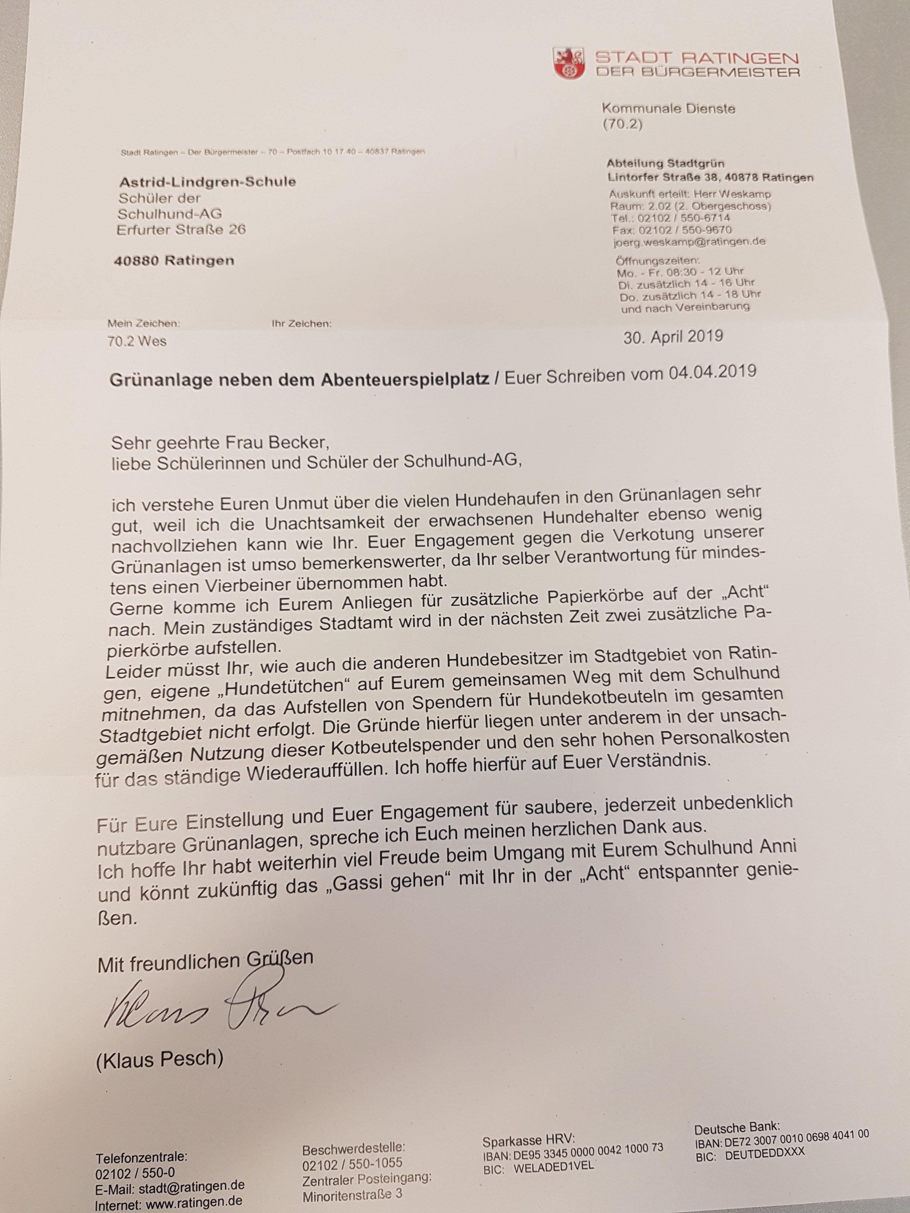 Brief von der Stadt Ratingen